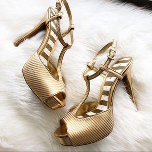 Gianni Bini • Gold T-Strap Platform Heels